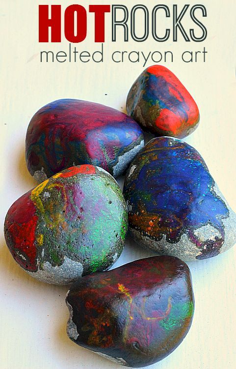 Hot Rocks!! Melted crayon art - great tips to help make this safer for kids!
