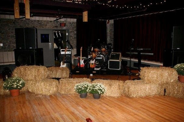The band setup for a Country Fair wedding at the Charles W. Stockey Centre in Parry Sound, ON.
