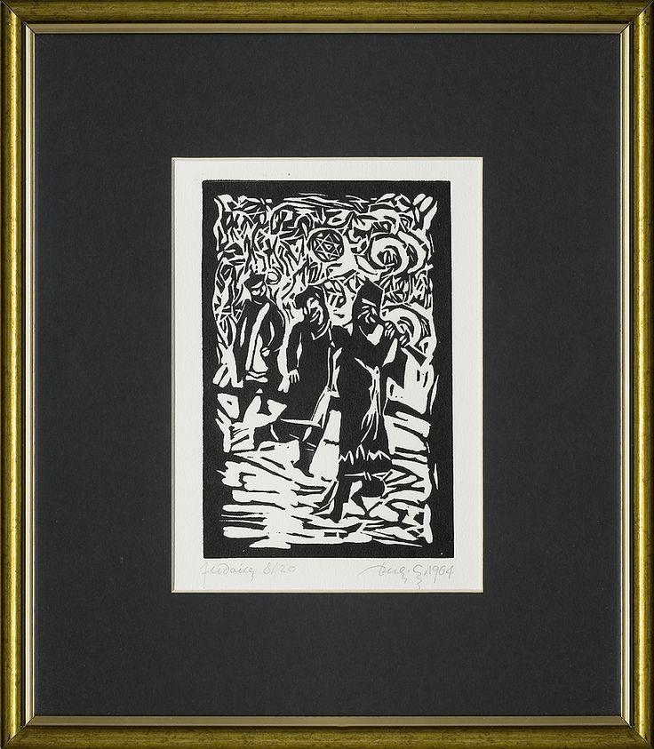 Jerzy Duda Gracz | GRAJKOWIE, Z CYKLU JUDAICA, 1964 | linoryt, papier | 17.3 x 11.5 cm