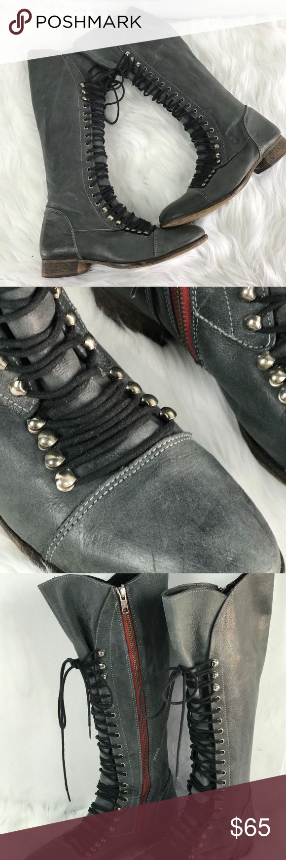 Steve Madden Gray Tall Lace Up Boots Size 9.5 Steve Madden Perrin Gray Tall Lace Up Inside Zip Up Boots. Size 9.5. Gently used. No flaws. Steve Madden Shoes Lace Up Boots