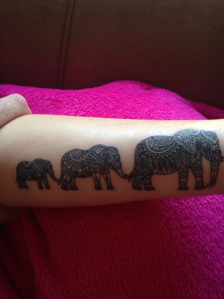 My tattoo -  Artist - J Baccera (immortal Ink) Elephant family with freehand henna