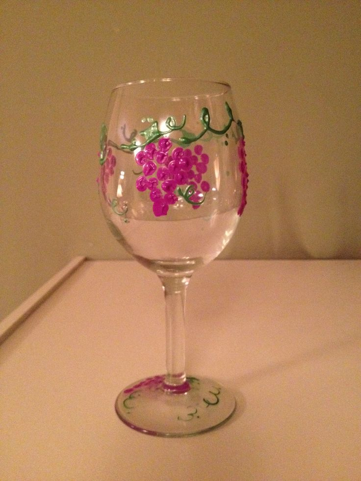 A hand painted wine glass crafts pinterest Images of painted wine glasses
