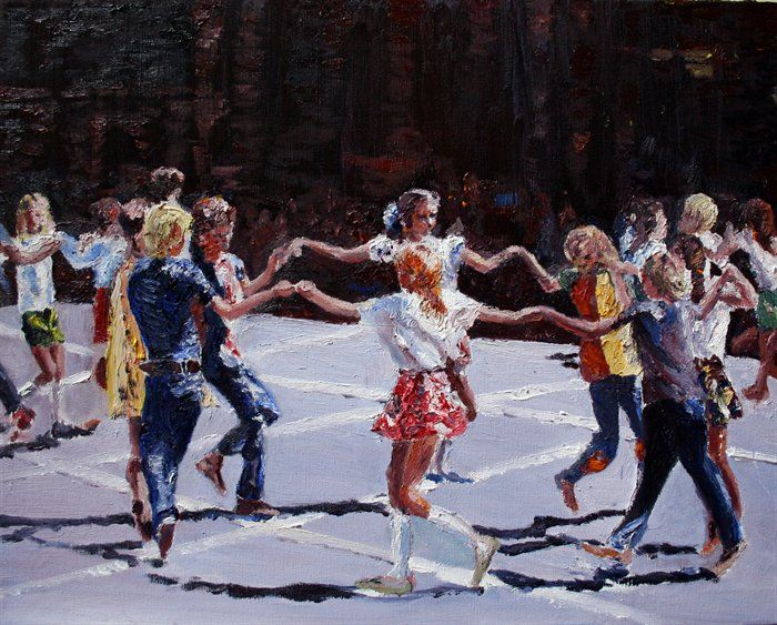 dancing - Square Dancing Practice, at Busby West by Jo Mulholland