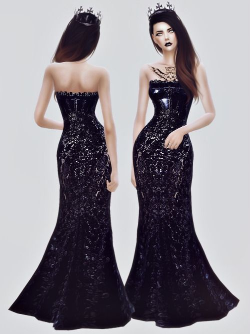 Black Gown at Fashion Royalty Sims via Sims 4 Updates