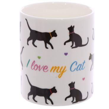 Kubek z porcelany kostnej - I love my cat ThreeWishesHome