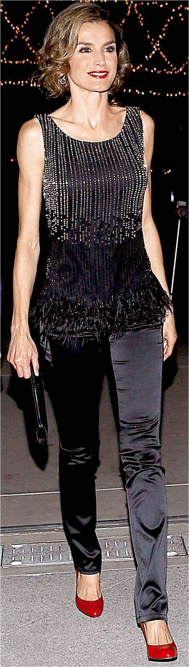 Queen Letizia of Spain. Night style.