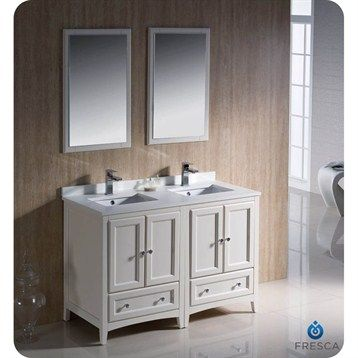 fresca oxford 48 traditional double sink bathroom vanity antique white double vanity for small space use dark hardware and faucets to match rest of