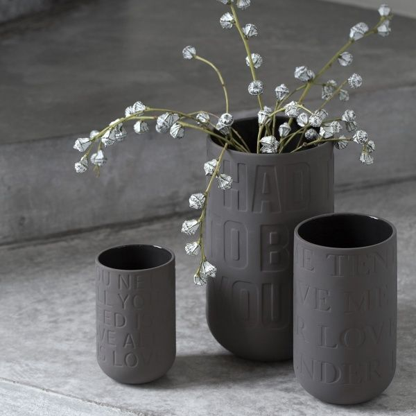 Kähler Love Song Vase antrasittgrå Stor