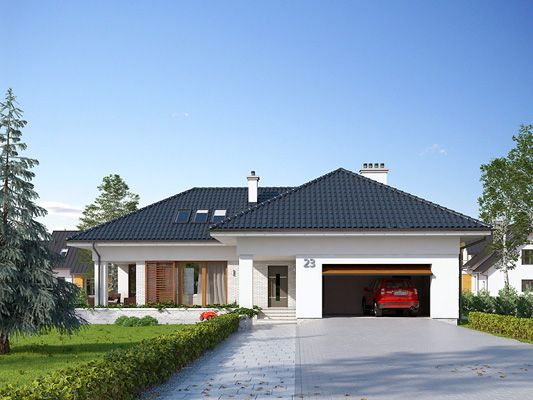 Projekt domu Aksamit 2 to parterowy budynek z użytkowym poddaszem i dwustanowiskowym garażem. Jest idealnym rozwiązaniem dla 6-7 osobowej rodziny. Więcej informacji o projekcie na: http://www.domywstylu.pl/projekt-domu-aksamit_2.php #aksamit #domy #projekty #projekt #domyzpoddaszem #architektura #design #domywstylu #mtmstyl #projektygotowe