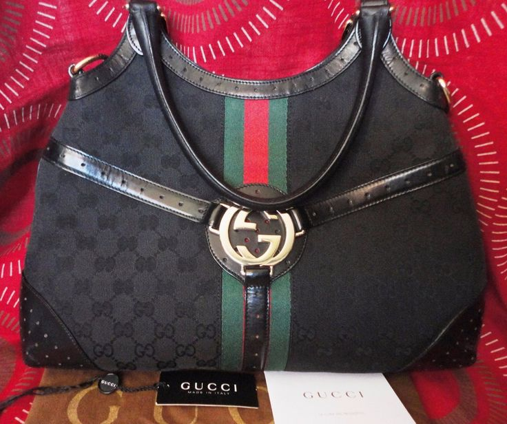 $1500 100% AUTHENTIC GUCCI BLACK GG CANVAS WEB INTERLOCKING HOBO BAG IN VGUC | eBay