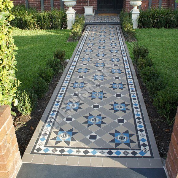 Olde English Tiles – Paddington pattern with the Norwood border. Gorgeous Path Heritage Tessellated Tiles