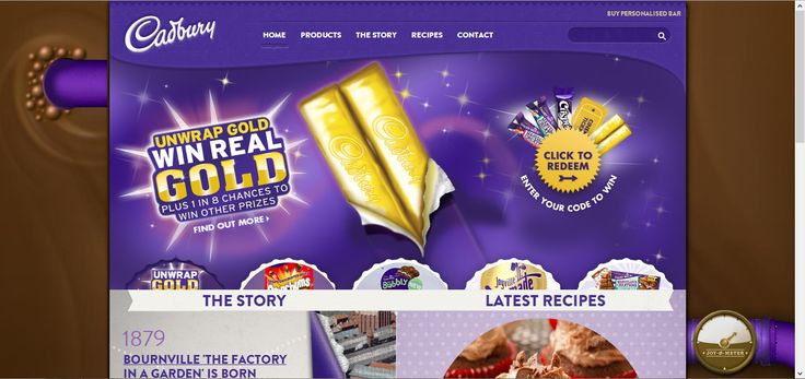 The website Cadbury use its brand's color, purple and chocolate to design the website layouts. Users are likely to feel at home because of the consistency. The texture apply on the navigation bar and design make the website doesn't look so dull.