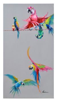 $54, Papagaio I Wall Art OL1266, 51'' x 43'' x 5'', Parrots of paradise are portrayed in all rainbow colors and sit on a contrasting pale grey background. textured surface, 100% hand-painted on canvas.