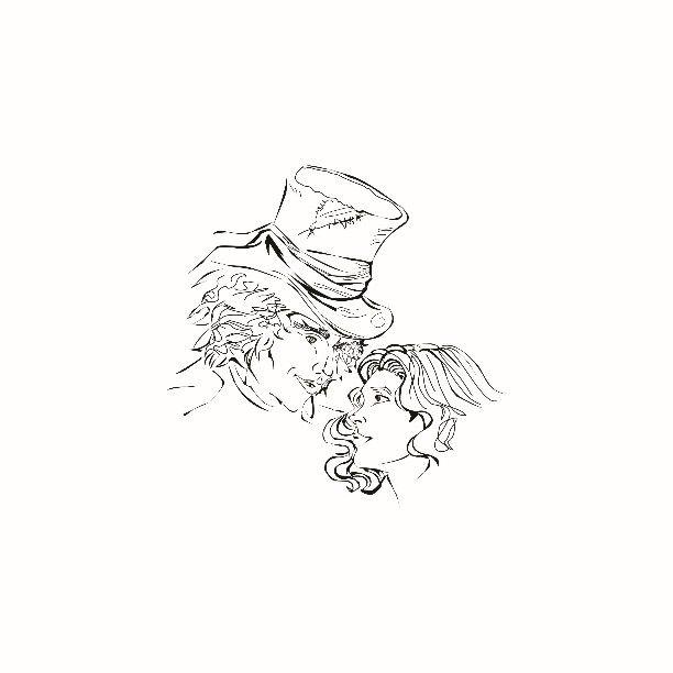 """""""la verità è che il cappellaio e alice erano innamorati ma erano di due mondi completamente diversi. Eppure nessuno si dimenticherà mai dell'altro e si sono promessi che un giorno si rincontreranno e continueranno a sperarci senza mollare. Si dice che lui diventò matto ma di lei e che lei lo sogni ogni notte. Si sono lasciati qualcosa di indelebile dentro qualcosa che neanche la pazzia potrà cancellare"""". #drawing #art #illustration #adobeillustrator #draw #instadraw #pen #pencil #vector…"""