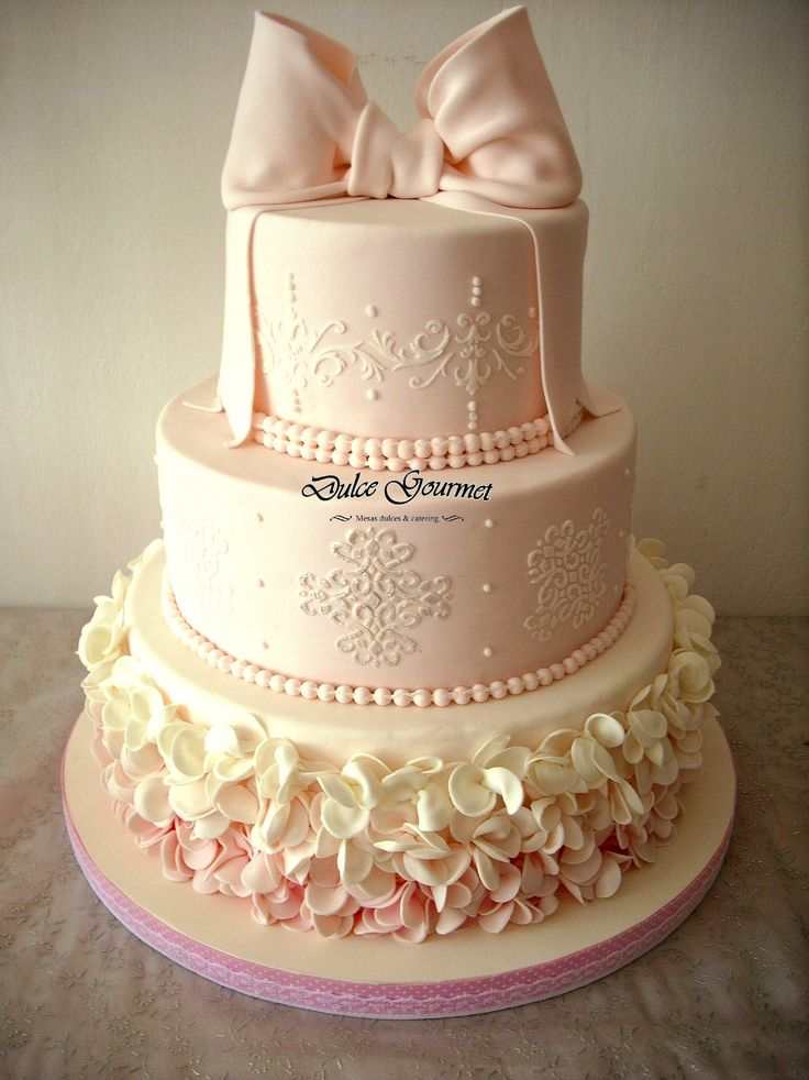 Pink ombre baptism cake - Three tier cake with bow in light vintage pink