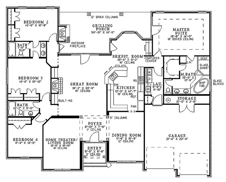 Floor Plans AFLFPW19999 - 1 Story French Country Home with 4 Bedrooms, 3 Bathrooms and 2,525 total Square Feet