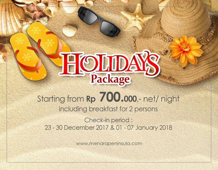 Looking for a holiday to Jakarta?  Treat yourself with one of our enticing packages.   HOLIDAYS PACKAGE starting from IDR700,000,- net per night - valid for period of 23-30 December 2017 and 01-07 January 2018.  BOOK NOW! (+62-21) 5350888 reservation@menarapeninsula.com