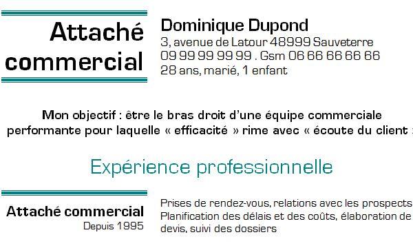 Exemple de CV Attaché commercial