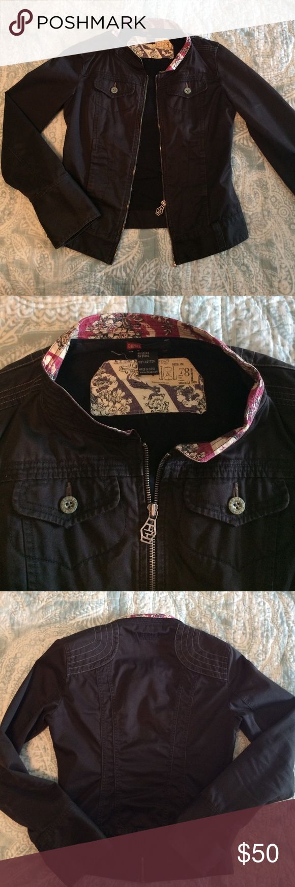 Early Diesel denim jacket-dark grey/black Incredible Diesel jacket purchased around 2005. No signs of wear. Dark grey/black in color with floral design around neck. Size medium, but fits smaller. Diesel Jackets & Coats Jean Jackets