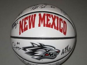 New Mexico Lobos logo | New-Mexico-Lobos-2013-Team-Signed-Logo-Basketball-Steve-Alford-Kendall ...