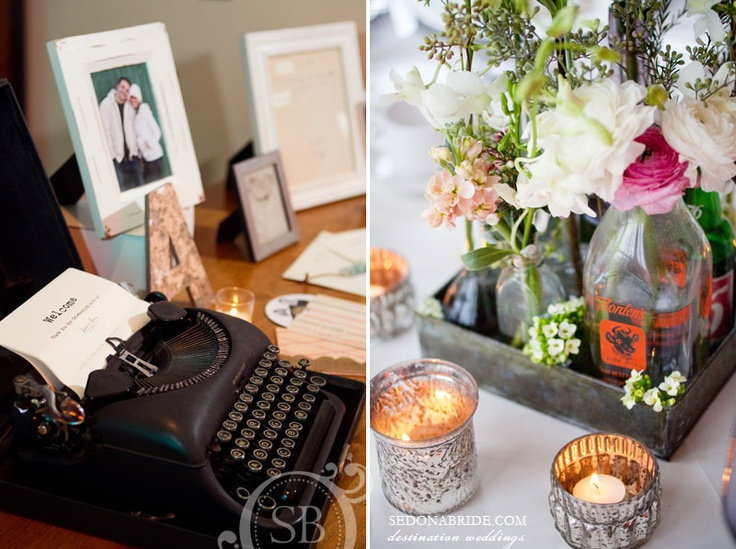 """vintage typewriter """"guest book"""" and vintage bottle center pieces ... floral by events by show stoppers ... photography by sedona bride photographers"""