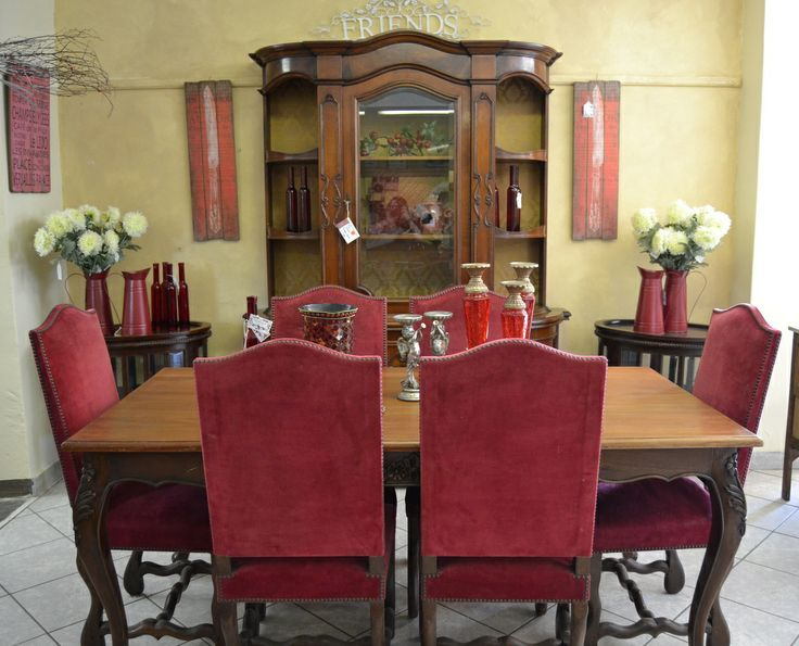 Lovely Dining space with deep red Os Mouton Dining Chairs