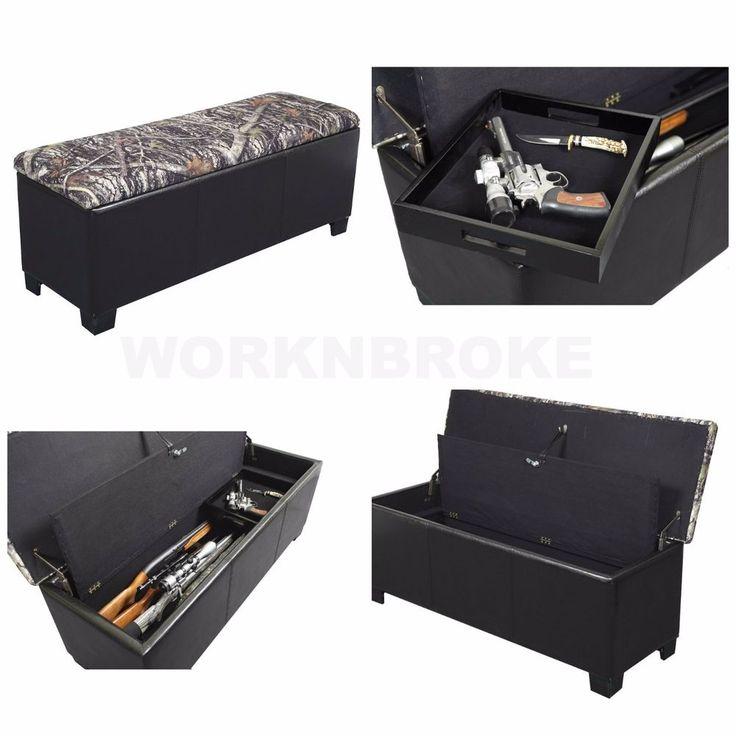 Camo Safe Gun Storage Hidden Concealment Bench Cushioned Firearm Handgun Rifles #AFC