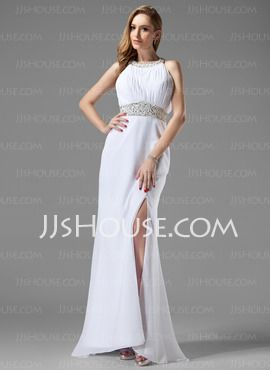 A-Line/Princess Scoop Neck Sweep Train Chiffon  Charmeuse Prom Dresses With Ruffle  Beading (018004915)