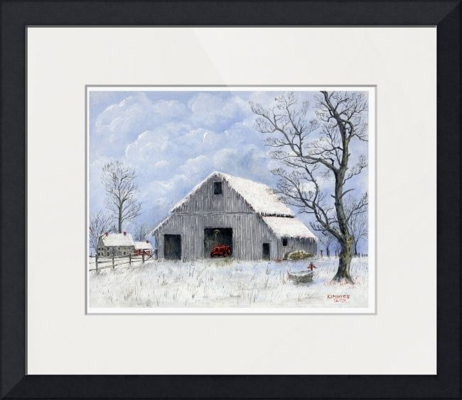 """""""A+Cold+Winter+Day""""+by+Kip+Hayes,+Broussard+Louisiana+//+Oil+painting+of+an+old+barn+covered+with+snow.+In+the+distance+their+is+the+old+homestead.+Near+the+barn+is+a+stack+of+fire+wood,+and+in+the+barn+the+old+tractor+rest+for+the+winter.+//+Imagekind.com+--+Buy+stunning+fine+art+prints,+framed+prints+and+canvas+prints+directly+from+independent+working+artists+and+photographers."""