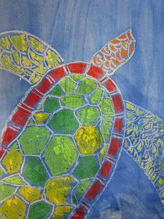 The Art Teacher's Closet: In the Art Room - Wax Resist Sea Turtles Maybe Australian coral reef animals