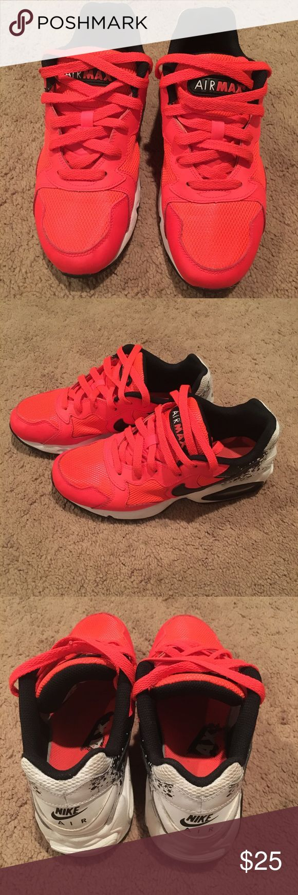 Women's Nike Air Max Women's Nike Air Max Size: 6.5 Some wear. Color: Neon Orange/pinkish, black & white Nike Shoes Sneakers