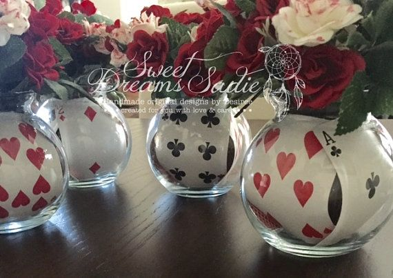 Queen of hearts center pieces ready to ship by SweetDreamsSadie
