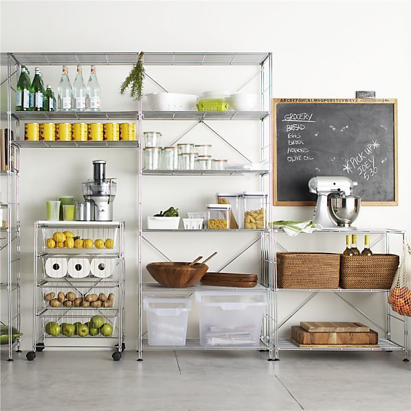 MAX Chrome Three-Shelf Unit with Wood Shelves in Dining & Kitchen Storage | Crate&Barrel