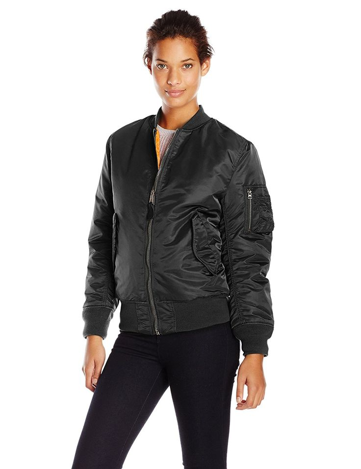 Alpha Industries Women's Ma-1 Flight Nylon Reversible Bomber Jacket ** This is an Amazon Affiliate link. Click image for more details.