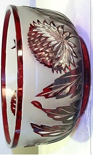 COLORLESS GLASS BOWL WITH RUBY RED THAT HAS WALL DECOR WITH THISTLES  Glass factory Solomon Reich & Comp., Krasna a.d. Bečva, Moravia, Artelier ATEL   Lit: Passau Glass Museum, Room 35, Showcase 30th  Circa 1935