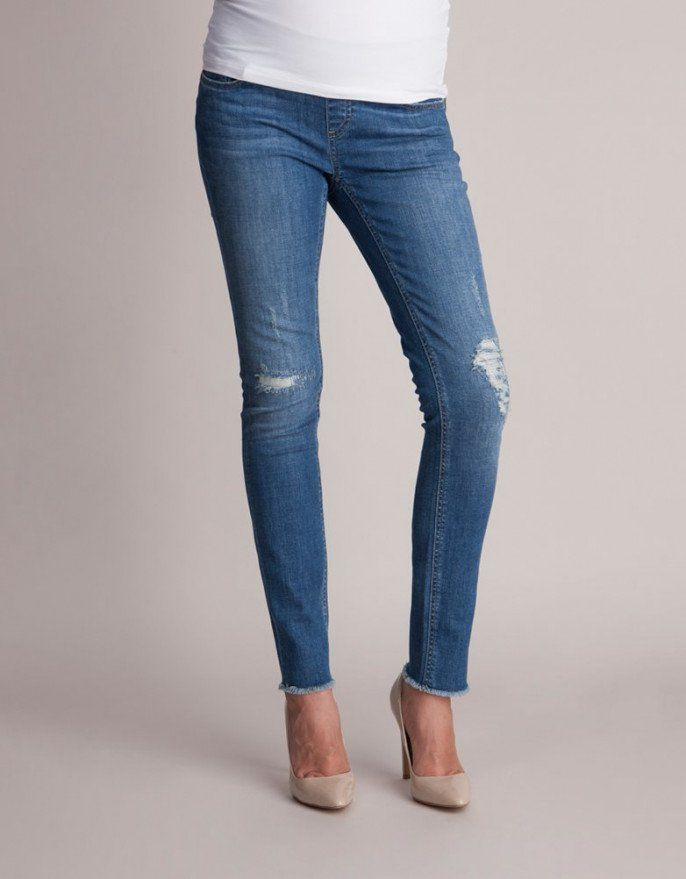 9fefa37a5f213 Under Bump Distressed Maternity Jeans | Maternity fashion ...