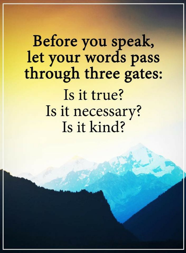 Quotes Before you speak, filter your words through three filters: is it correct? Is it important? Is it nice to to say.