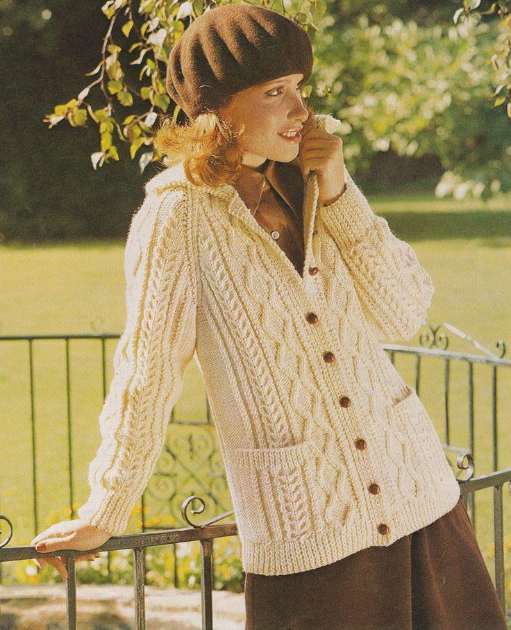 Aran Cardigan Knitting Pattern PDF Señoras 34, 36, 38 y 40 pulgadas busto, Chaqueta larga, Vintage Aran Knitting Patrones para mujeres