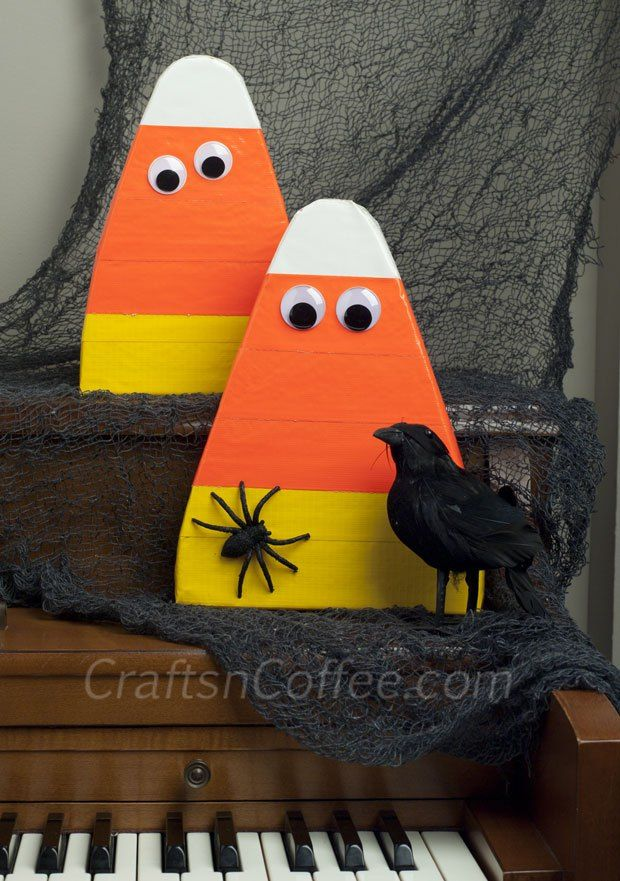 What a fun Halloween craft -- Candy Corn Cuties made with duct tape. Easy, too.