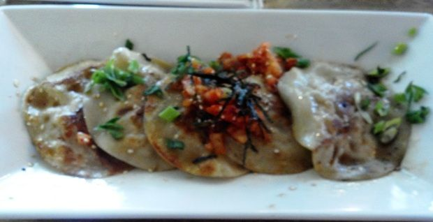 We had these great Korean chicken dumplings with kimshi at Street Food Asia in Albuquerque photo Steve Collins