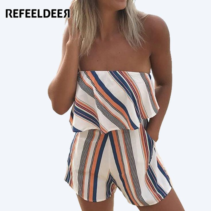 Refeeldeer 2017 Summer Sexy Strapless Playsuit Women Striped Bodysuit Female Shorts Jumpsuit Short Rompers Body Women Overalls #Affiliate