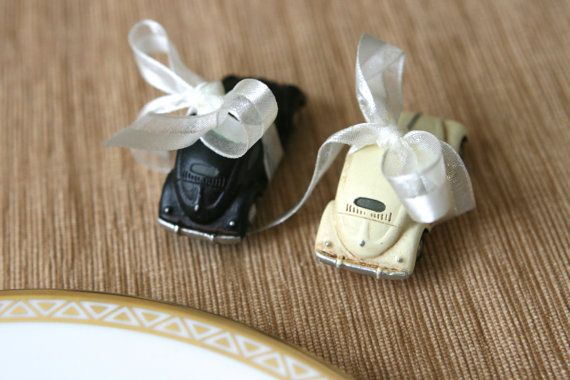Love Bug Wedding Favors - 10 VW Beetle Car Magnets (5 Ivory and 5 Black) - a Perfect His and Hers Gift