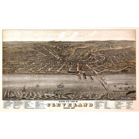 Vintage Map of Cleveland Ohio 1877 Cuyahoga County Canvas Art - (18 x 24)