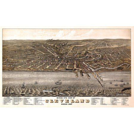 Vintage Map of Cleveland Ohio 1877 Cuyahoga County Canvas Art - (18 x 24)