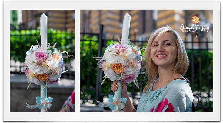 Peach Mint Butterflied Christening Candle www.facebook.com/faitamain www.simplyhappy.ro