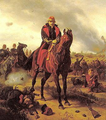Napoléon III lors de la bataille de Sedan par le peintre allemand Wilhelm Camphausen.