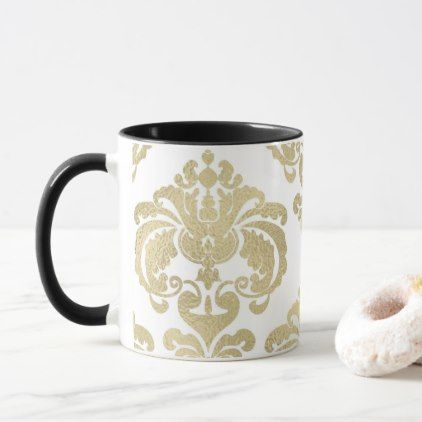 Gold & White Elegant Chic Damask Pattern Mug - chic design idea diy elegant beautiful stylish modern exclusive trendy