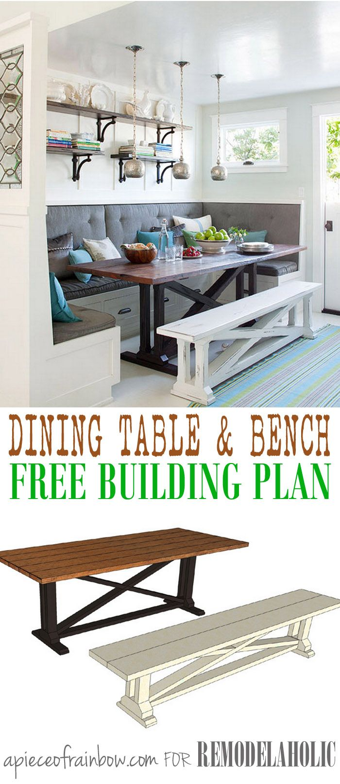 Build a beautiful rustic X dining table and matching bench like this one featured in BHG! Easier than it looks and so beautiful! Free building plans by A Piece of Rainbow on Remodelaholic.com.