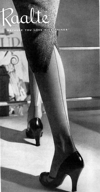 A perpetual favourite (and feature in my wardrobe): seamed stockings. They could sometime be hard to get straight.  Strained my neck once trying to straighten them.    MJ