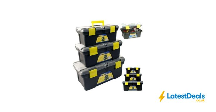 3PC PLASTIC TOOL BOX CHEST Free Delivery, £15.49 at Amazon UK